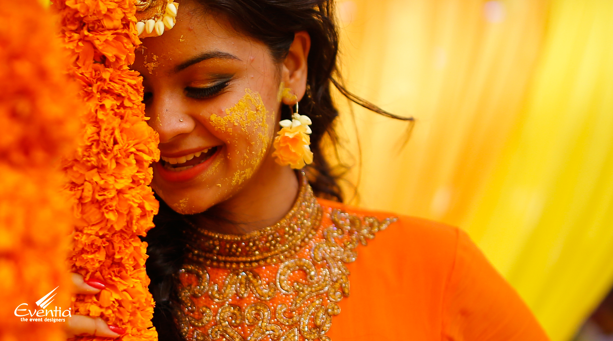 traditional hindu wedding haldi function decoration at home